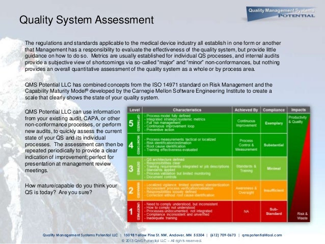 Quality management system maturity assessment
