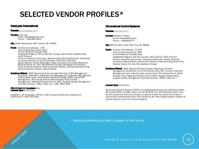 2015 Quality Management System Vendor Benchmark