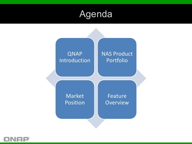 Agenda    QNAP       NAS ProductIntroduction    Portfolio  Market         Feature  Position      Overview