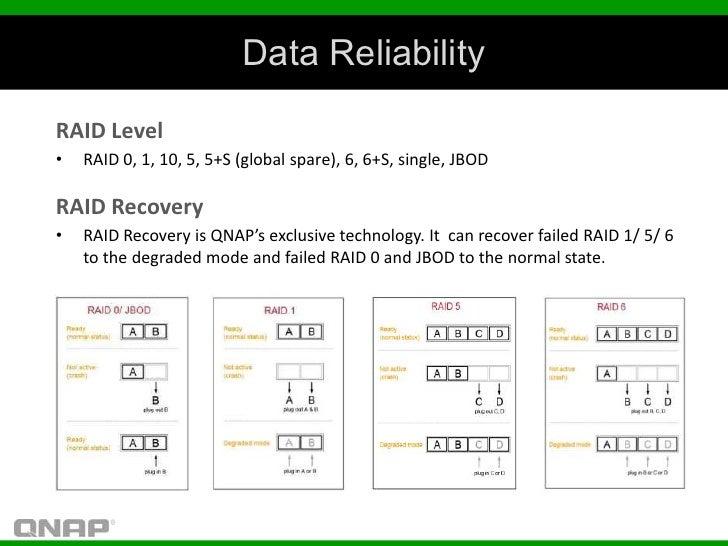 Data ReliabilityRAID Level•   RAID 0, 1, 10, 5, 5+S (global spare), 6, 6+S, single, JBODRAID Recovery•   RAID Recovery is ...