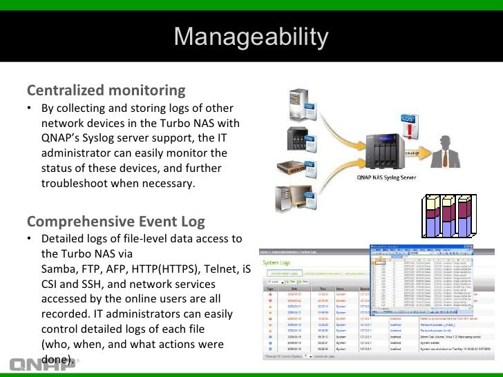 ManageabilityCentralized monitoring• By collecting and storing logs of other  network devices in the Turbo NAS with  QNAP'...