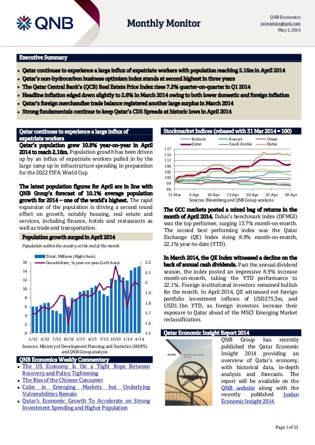 Page 1 of 13 Executive Summary  Qatar continues to experience a large influx of expatriate workers with population reachi...
