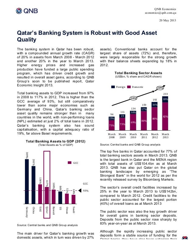 QNB Economicseconomics@qnb.com.qa20 May 20131Qatar's Banking System is Robust with Good AssetQualityThe banking system in ...