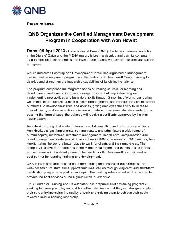 Press release QNB Organizes the Certified Management Development       Program in Cooperation with Aon HewittDoha, 09 Apri...