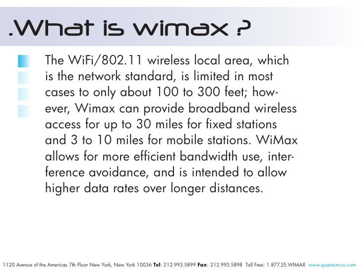 What Is Wimax A Tutorial From Quantum Networks Llc