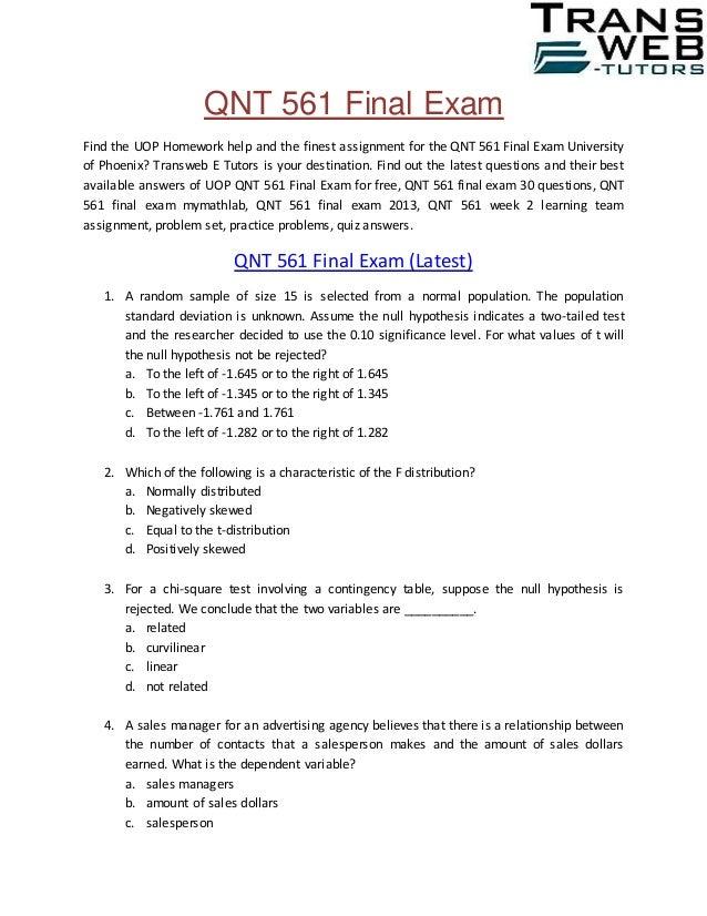 QNT 561 Final Examination QNT 561 Final Exam Answers