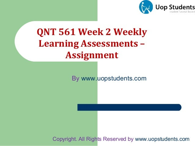 Qnt 561 Week 1 Individual Assignment