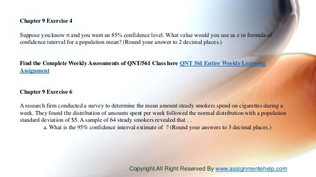 Qnt 561 week 5 answers