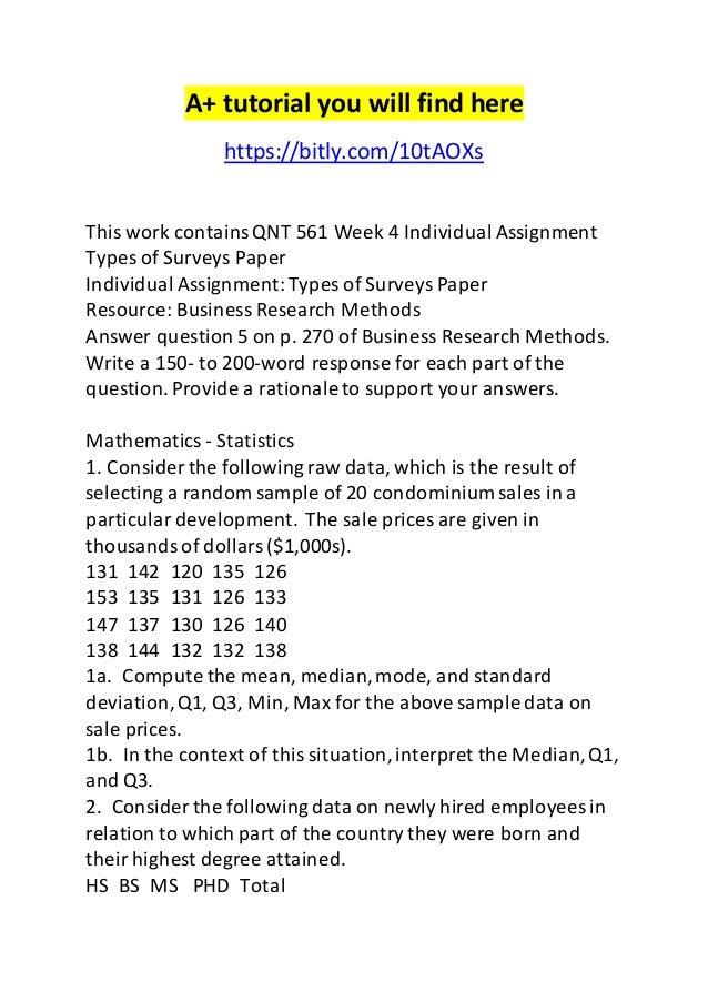 QNT 351 Week 1 Individual Assignment Statistics in Business / University of Phoenix