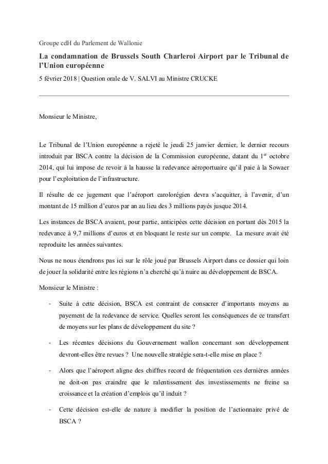Groupe cdH du Parlement de Wallonie La condamnation de Brussels South Charleroi Airport par le Tribunal de l'Union europée...