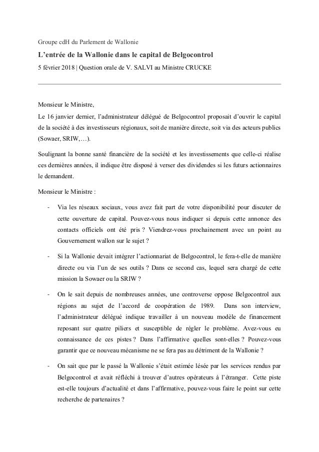 Groupe cdH du Parlement de Wallonie L'entrée de la Wallonie dans le capital de Belgocontrol 5 février 2018 | Question oral...