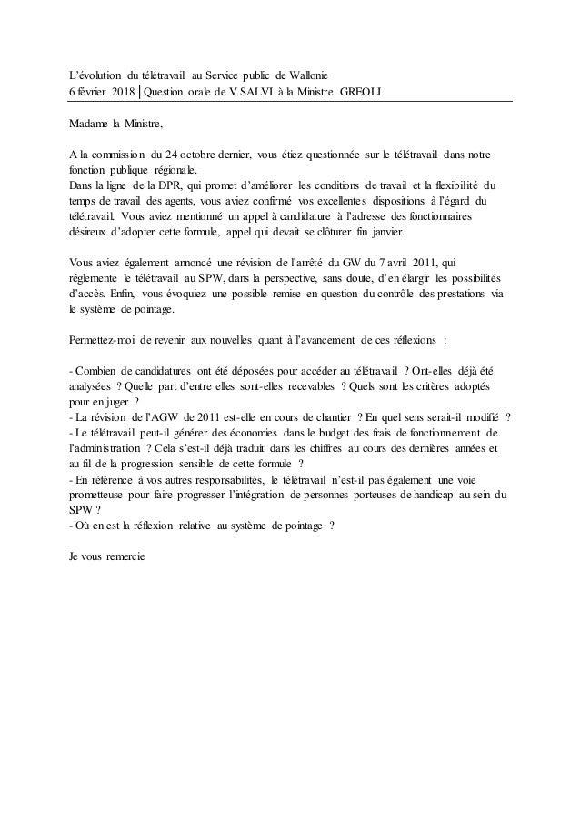 L'évolution du télétravail au Service public de Wallonie 6 février 2018│Question orale de V.SALVI à la Ministre GREOLI Mad...