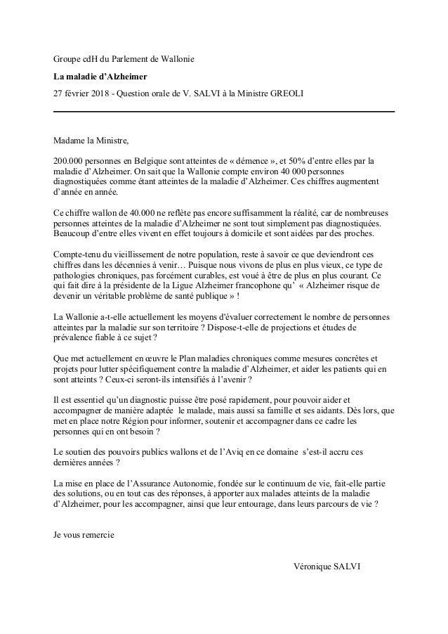Groupe cdH du Parlement de Wallonie La maladie d'Alzheimer 27 février 2018 - Question orale de V. SALVI à la Ministre GREO...