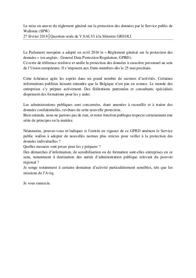 La mise en œuvre du règlement général sur la protection des données par le Service public de Wallonie (SPW) 27 février 201...