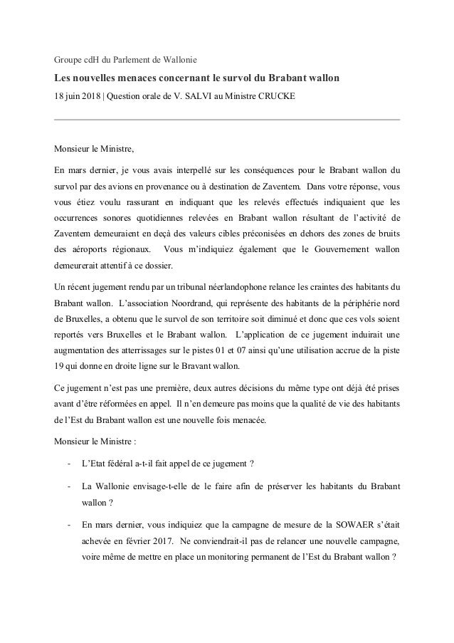 Groupe cdH du Parlement de Wallonie Les nouvelles menaces concernant le survol du Brabant wallon 18 juin 2018 | Question o...