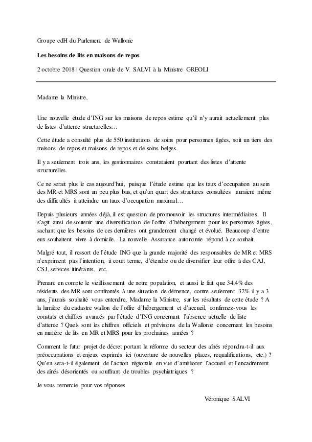 Groupe cdH du Parlement de Wallonie Les besoins de lits en maisons de repos 2 octobre 2018 | Question orale de V. SALVI à ...
