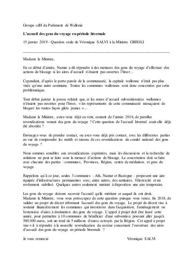 Groupe cdH du Parlement de Wallonie L'accueil des gens du voyage en période hivernale 15 janvier 2019 - Question orale de ...