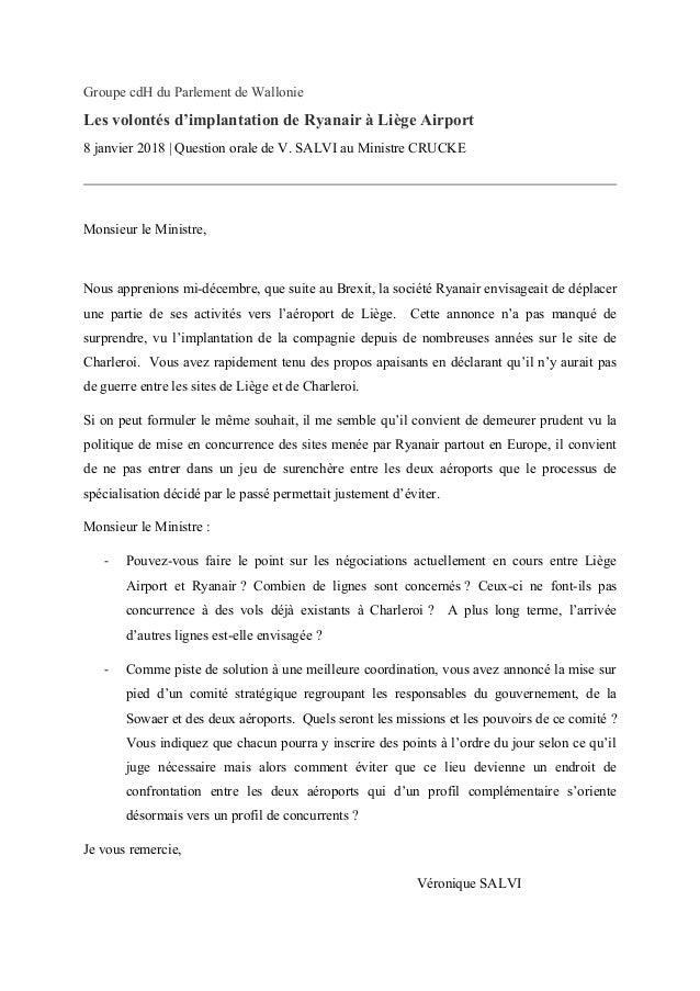 Groupe cdH du Parlement de Wallonie Les volontés d'implantation de Ryanair à Liège Airport 8 janvier 2018 | Question orale...