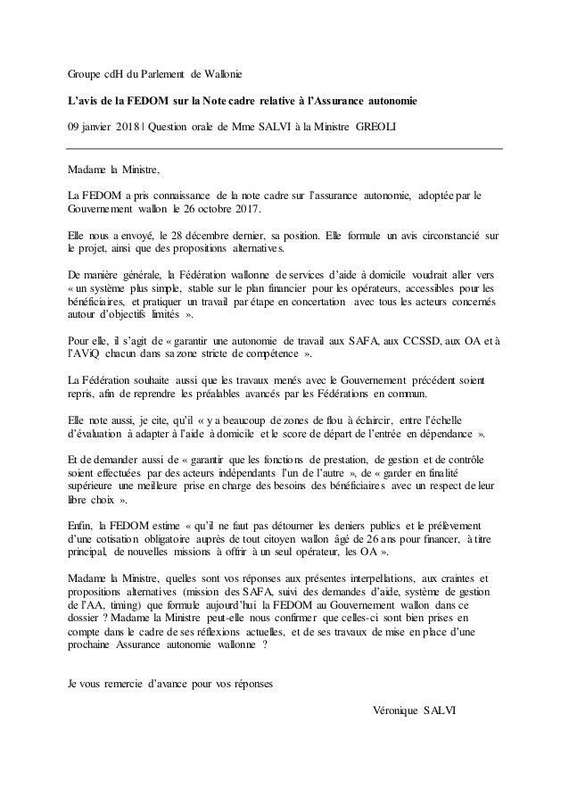 Groupe cdH du Parlement de Wallonie L'avis de la FEDOM sur la Note cadre relative à l'Assurance autonomie 09 janvier 2018 ...