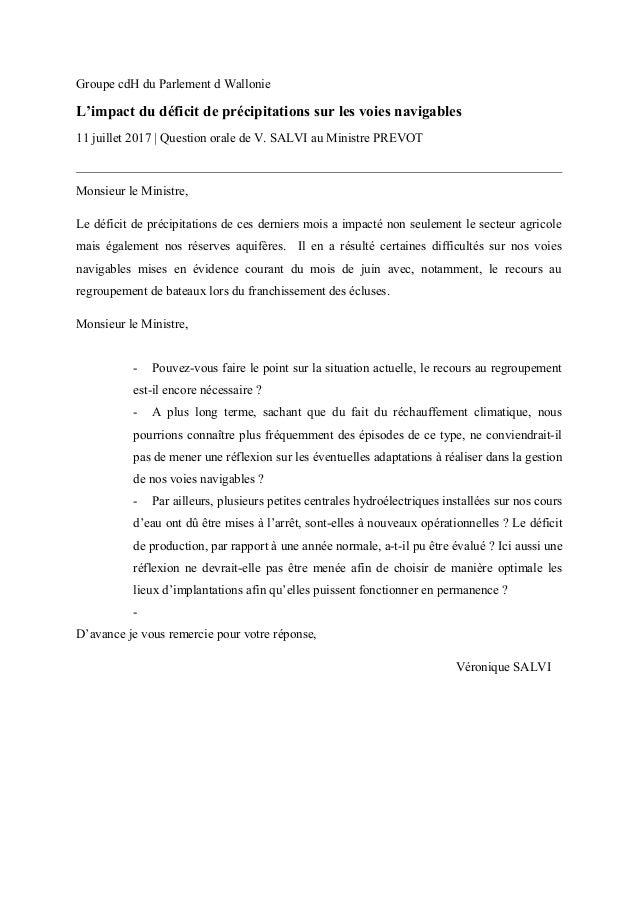 Groupe cdH du Parlement d Wallonie L'impact du déficit de précipitations sur les voies navigables 11 juillet 2017   Questi...