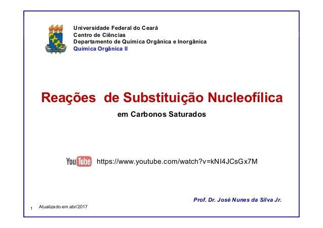 DQOI - UFC Prof. Nunes Reações de Substituição Nucleofílica em Carbonos Saturados Prof. Dr. José Nunes da Silva Jr. Univer...