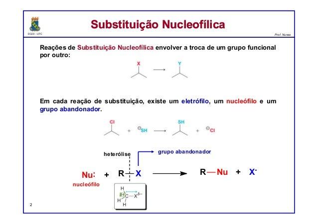 Reações de Substituição Nucleofílica e de Eliminação Slide 2