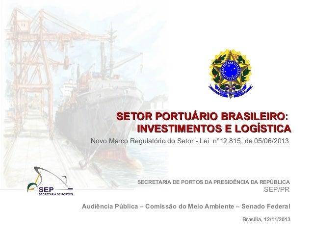 SECRETARIA DE PORTOS DA PRESIDÊNCIA DA REPÚBLICA SEP/PR SETOR PORTUÁRIO BRASILEIRO:SETOR PORTUÁRIO BRASILEIRO: INVESTIMENT...