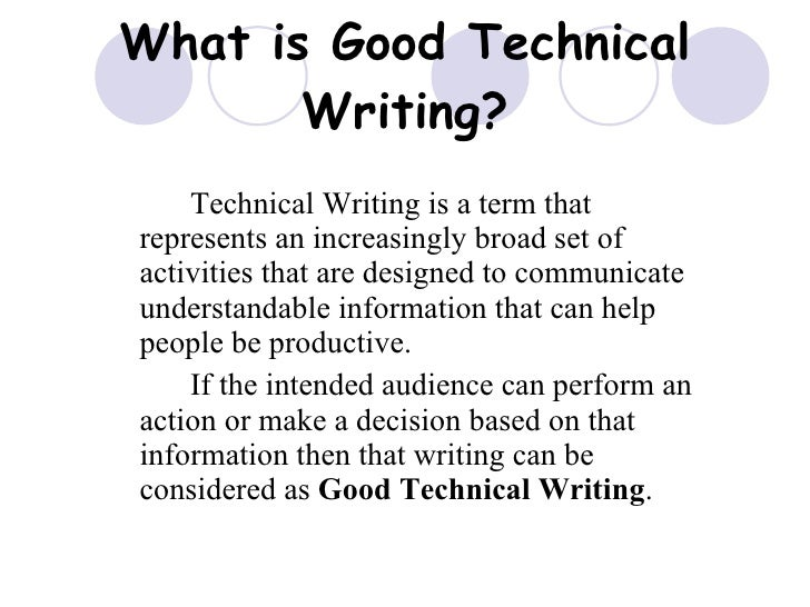 Qualities of good technical writing with examples