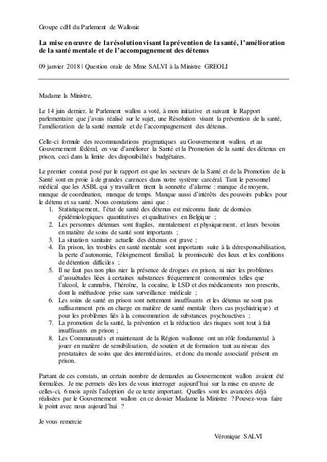 Groupe cdH du Parlement de Wallonie La mise en œuvre de larésolutionvisant laprévention de la santé, l'amélioration de la ...