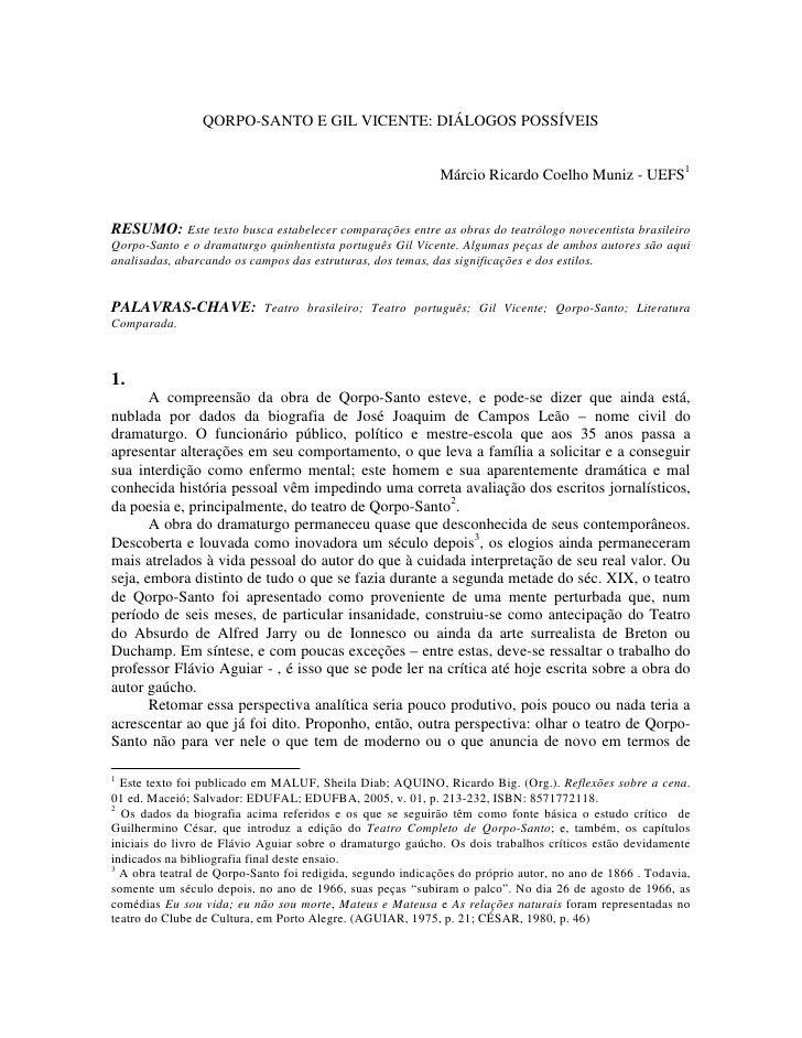 QORPO-SANTO E GIL VICENTE: DIÁLOGOS POSSÍVEIS                                                                Márcio Ricard...