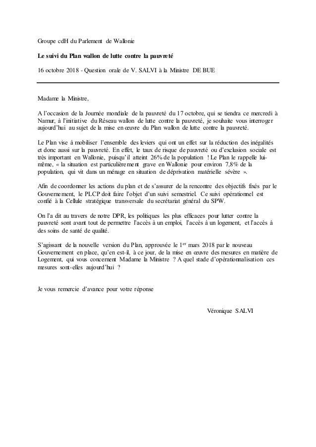 Groupe cdH du Parlement de Wallonie Le suivi du Plan wallon de lutte contre la pauvreté 16 octobre 2018 - Question orale d...