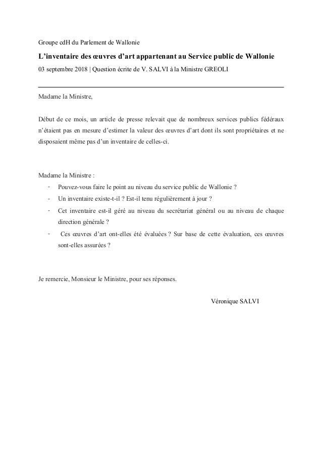Groupe cdH du Parlement de Wallonie L'inventaire des œuvres d'art appartenant au Service public de Wallonie 03 septembre 2...