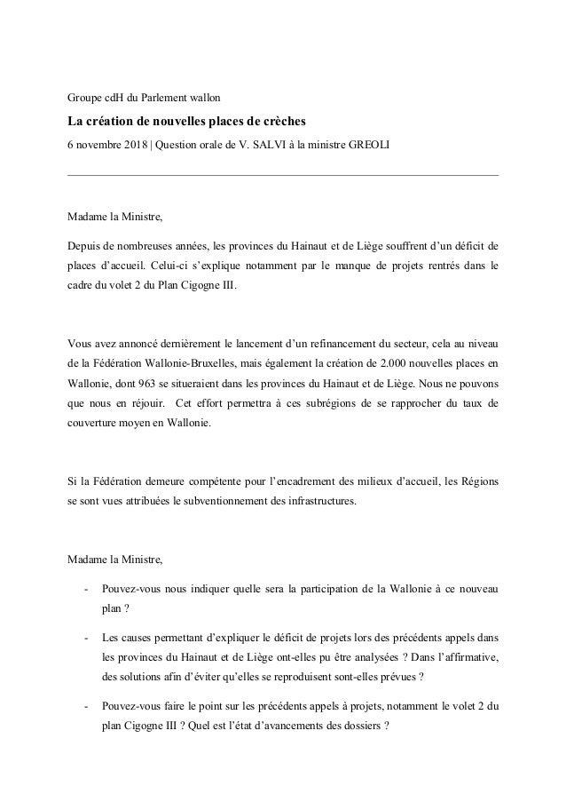 Groupe cdH du Parlement wallon La création de nouvelles places de crèches 6 novembre 2018 | Question orale de V. SALVI à l...