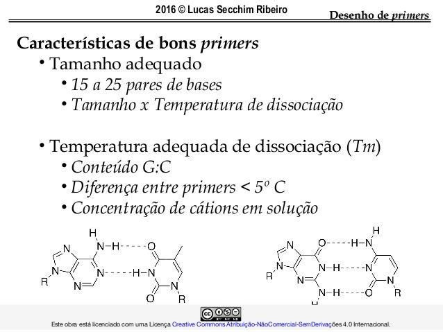 Desenho deDesenho de primersprimers Características de bons primers • Tamanho adequado • 15 a 25 pares de bases • Tamanho ...