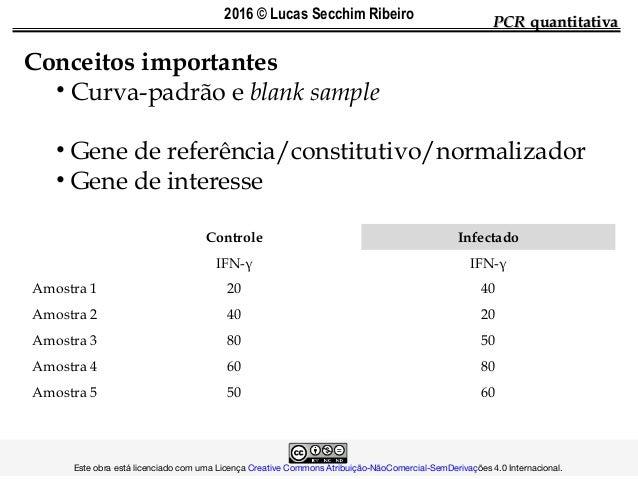 PCRPCR quantitativaquantitativa Conceitos importantes • Curva-padrão e blank sample • Gene de referência/constitutivo/norm...