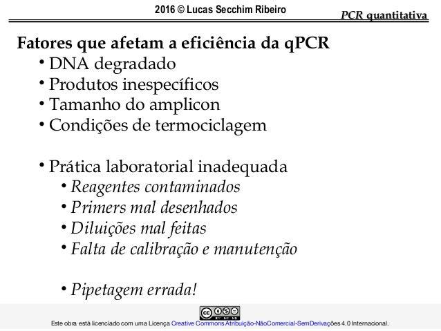 PCRPCR quantitativaquantitativa Fatores que afetam a eficiência da qPCR • DNA degradado • Produtos inespecíficos • Tamanho...