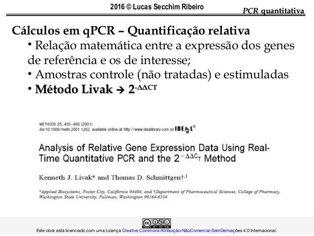 PCRPCR quantitativaquantitativa Cálculos em qPCR – Quantificação relativa • Relação matemática entre a expressão dos genes...