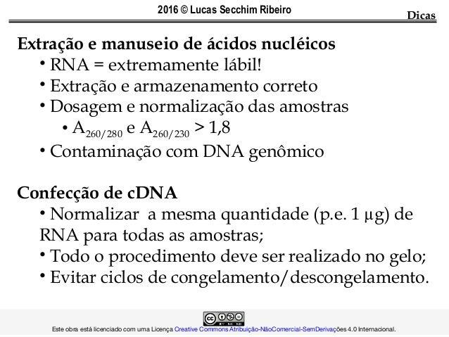 DicasDicas Extração e manuseio de ácidos nucléicos • RNA = extremamente lábil! • Extração e armazenamento correto • Dosage...