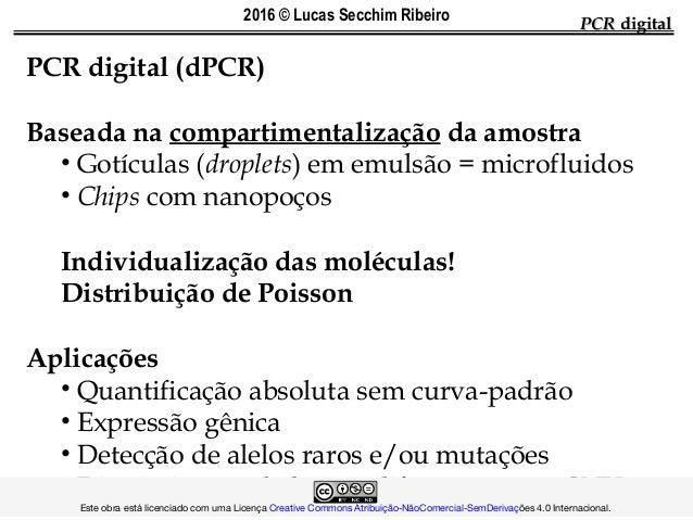 PCRPCR digitaldigital PCR digital (dPCR) Baseada na compartimentalização da amostra • Gotículas (droplets) em emulsão = mi...