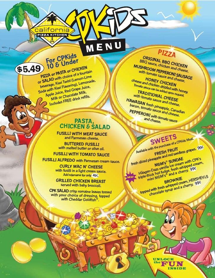 cpkids menu rh slideshare net California Pizza Kitchen Menu Appetizers California Pizza Kitchen Pasta