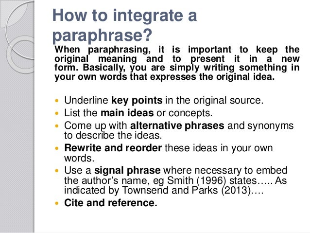 Quoting and paraphrasing need signal phrases