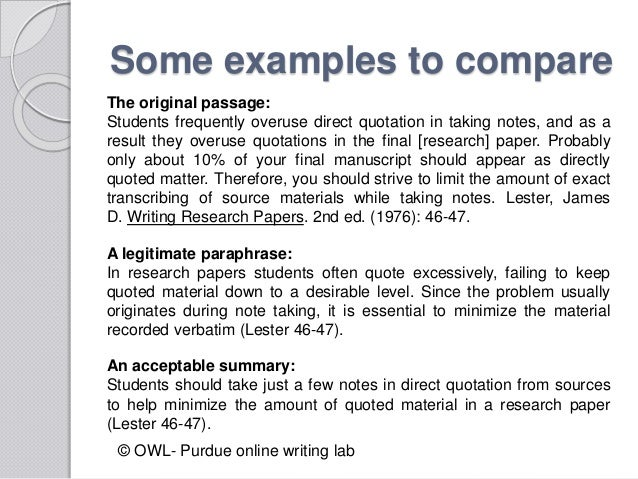 tips on quoting paraphrasing and summarising The majority of these citations should be paraphased or summarized, with quotes used sparingly tips for effective paraphrasing and summarizing.