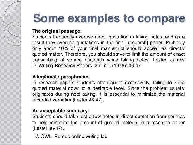 Examples of paraphrasing and summarizing