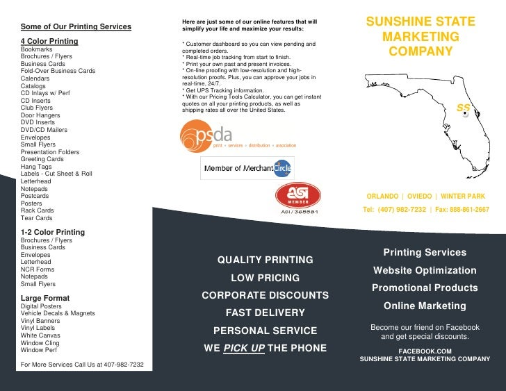 Sunshine state marketing company brochure some of our printing services here are reheart Image collections