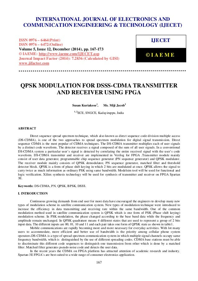 Qpsk modulation for dsss cdma transmitter and receiver using