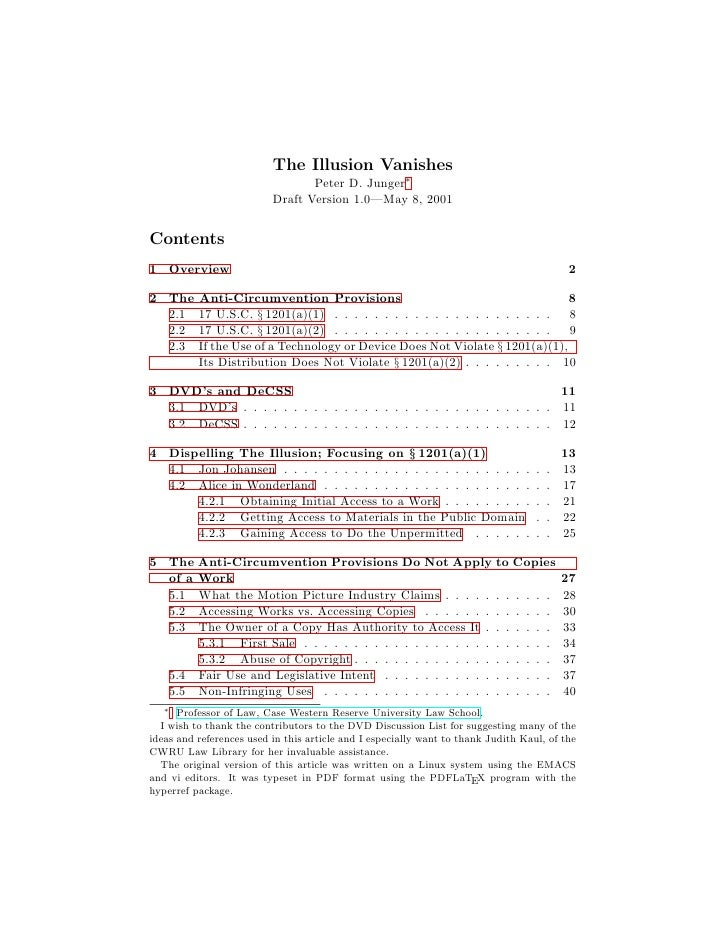 The Illusion Vanishes                                  Peter D. Junger∗                           Draft Version 1.0—May 8,...