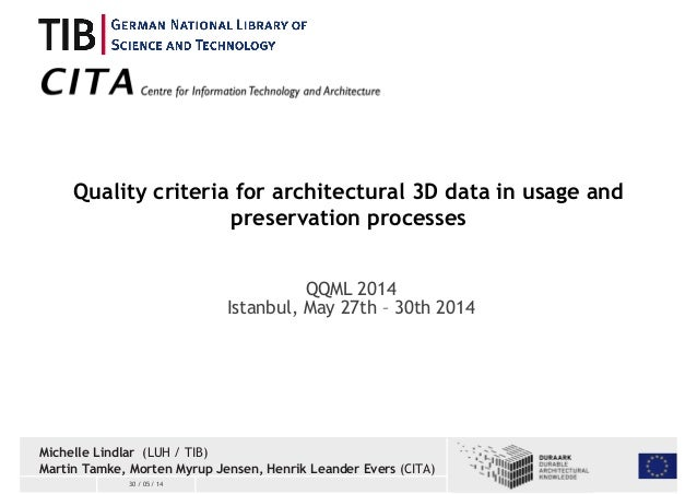 Quality criteria for architectural 3D data in usage and  30 / 05 / 14  preservation processes  QQML 2014  Istanbul, May 27...
