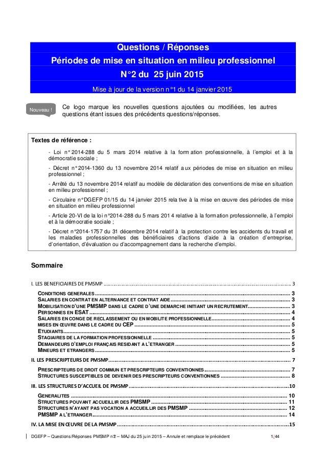 DGEFP – Questions/Réponses PMSMP n°2 – MAJ du 25 ju in 2015 – Annule et remplace le précédent 1/44 Questions / Réponses Pé...