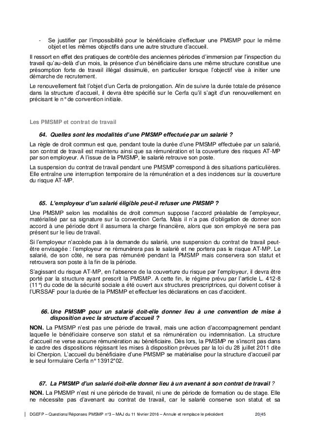 PMSMP : Question / Réponses n° 3 11 02 2016