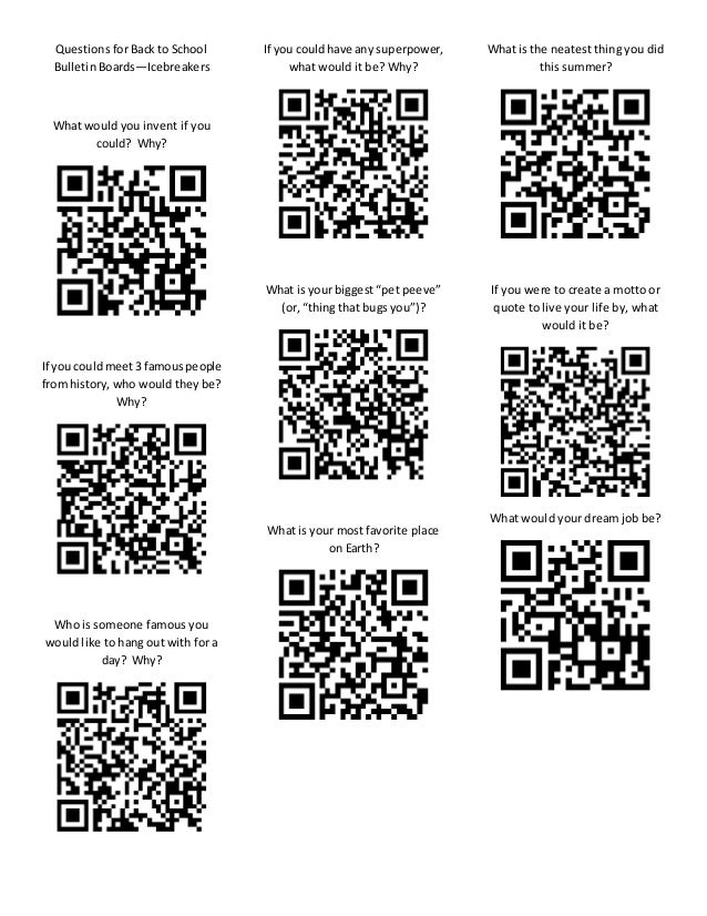 Qr Code Bulletin Board Back to School Questions